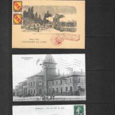 Sellos: FERROCARRILES FRANCESES DOS POSTALES CIRCULADAS EN 1909 Y 1945 Y OTRA ESPECIAL MATASELLOS 1946, . Lote 190814637