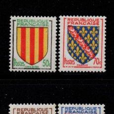 Sellos: FRANCIA 1044/47** - AÑO 1955 - ESCUDOS DE PROVINCIAS. Lote 295529818