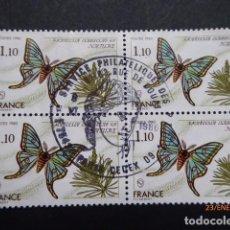 Sellos: FRANCIA BQ, DE 4 SELLOS MARIPOSA ,MATASELLO DE 1980 US.. Lote 191805810