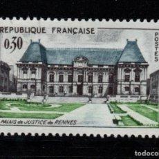 Sellos: FRANCIA 1351** - AÑO 1962 - PALACIO DE JUSTICIA DE RENNES. Lote 268174384