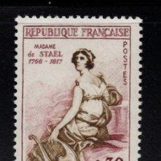Sellos: FRANCIA 1269** - AÑO 1960 - MADAME DE STAEL, PRECURSORA DE LA IDEA EUROPEA. Lote 268174059