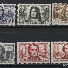 Sellos: R18/ FRANCIA 1959 Y&T 1207/12 MH*, CÉLÉBRITÉS. Lote 194133135