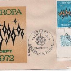 Sellos: SOBRE PRIMER DÍA DE LA SERIE EUROPA DE ANDORRA FRANCESA DE 1972. Lote 194254228