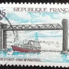 Timbres: 1968. FRANCIA. 1564. BARCO PASANDO BAJO EL PUENTE DE ROCHEFORT. SERIE COMPLETA. USADO.. Lote 195206790