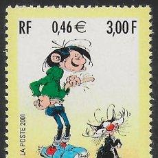 Timbres: FRANCIA 2001 MNH. DÍA DEL SELLO. GASTÓN EL GAFE. Lote 197457636
