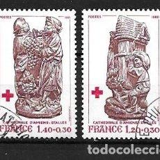 Sellos: FRANCIA, 1980,TALLAS DE LA CATEDRAL DE AMIENS,YVERT 2116-2117,USADOS. Lote 295473433