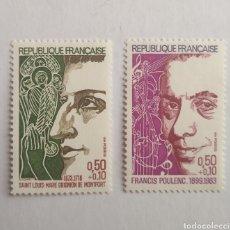 Sellos: SELLO 1784/85 FRANCIA SAINT LOUIS MARIE GRIGNION DE MONFORT Y FRANCIS POULENC NUEVOS AÑO 1963. Lote 200590882