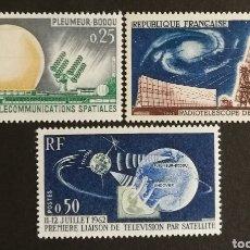 Sellos: FRANCIA, N°1360/62 MH, TELECOMUNICACIONES ESPACIALES 1962-63 (FOTOGRAFÍA REAL). Lote 202257748
