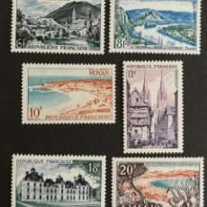 Sellos: FRANCIA, N°976/81 MH, SERIE TURÍSTICA 1954 (FOTOGRAFÍA REAL). Lote 202259737