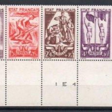 Sellos: FRANCIA AÑO 1943 YV 576/80S*** [·····] MNH BANDELETA NUMERADA SOCORRO NACIONAL PERSONAJES. Lote 204594878