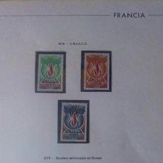Sellos: FRANCIA SERVICIO YVERT 43 AL 133 AÑOS 1975 AL 2005 MONTADOS EN HOJAS EDIFIL. Lote 210612627