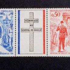 Sellos: SELLO DE FRANCIA, ANIVERSARIO DE LA MUERTE DEL GENERAL CHARLES DE GAULLE, 1971. Lote 212730721