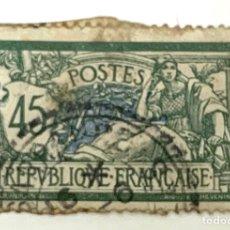 Sellos: SELLO FRANCIA 1906 NEW VALUE . VERDE /AZUL 45 CENTIMOS. Lote 215048655