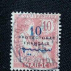 Sellos: FRANCIA, PROTECTORADO,MARRUECOS, 10C, 1911, SOBREESCRITO.. Lote 217037276