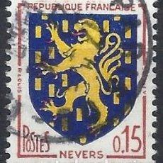Timbres: FRANCIA 1962 - ESCUDO DE ARMAS DE LA CIUDAD DE NEVERS - USADO. Lote 217366570