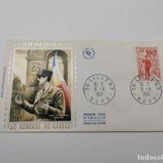 Sellos: HOMMAGE AU GENERAL DE GAULLE SOBRE PRIMER DIA AÑO 1971. Lote 218607188