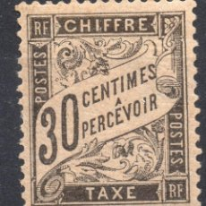 Sellos: FRANCIA /1882/MNH/SC#J19/ POSTAGE DUE STAMP / 30 CENTS NEGRO. Lote 221339208