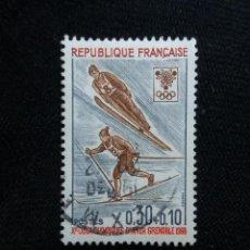 Sellos: FRANCIA, 0,30+0,10C, OLYMPIQUES INVER GRENOBRE, AÑO 1968.. Lote 221602627