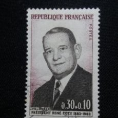 Sellos: FRANCIA, 0,30+0,10C, PRESIDENT RENE COTY, AÑO 1964.. Lote 221602970
