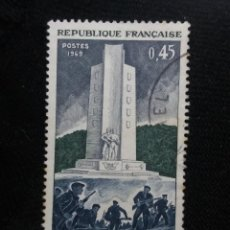 Sellos: FRANCIA, 0,45C, COMBTS DU MONT MPUCHET, AÑO 1969.. Lote 221605571