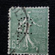 Sellos: FRANCIA, 65C, SEMBRADORA, AÑO 1923, PERFORADO.. Lote 222069337