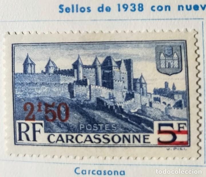SELLO FRANCIA DE 1938 CON NUEVO VALOR CARCASSONNE OVERPRINT YT:FR 490 SELLO USADO EN HOJA DE COLECCI (Sellos - Extranjero - Europa - Francia)