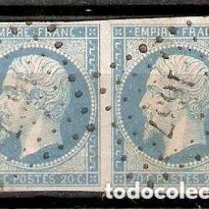 Sellos: FRANCIA - 1853-60 . NAPOLÉON III - PAREJA YT N° 14A TIPO I.. Lote 227158790