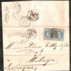 Sellos: FRANCIA.1868. CARTA FRANQUEADA MORLAIX A MÁLAGA. Lote 227570740