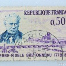 Sellos: SELLO POSTAL FRANCIA 1962, 0,50 ₣ , PIERRE-FIDELE BRETONNEAU, USADO. Lote 230930820