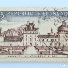 Sellos: SELLO POSTAL FRANCIA 1957, 0,50 ₣ , CASTILLO DE VALENCAY-INDRE-, USADO. Lote 230931880