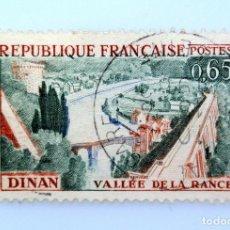 Sellos: SELLO POSTAL FRANCIA 1961, 0,65 ₣ , VALLE DE DINAN RANCE, USADO. Lote 230979790