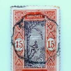 Sellos: SELLO POSTAL FRANCIA 1913, 15 ₣ , DAHOMEY, AFRICA OCCIDENTAL FRANCESA, USADO. Lote 230990395