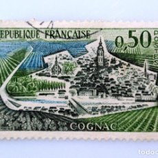 Sellos: SELLO POSTAL FRANCIA 1961, 0,50 ₣ , COGNAC, USADO. Lote 230992225