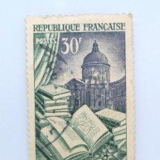 Sellos: SELLO POSTAL FRANCIA 1954, 30 ₣ ,EDICIÓN Y ENCUADERNACIÓN DE LIBROS, USADO. Lote 231003150
