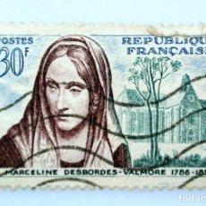 Sellos: SELLO POSTAL FRANCIA 1959, 30 ₣ , MARCELINE DESBORDES-VALMORE, USADO. Lote 231004545