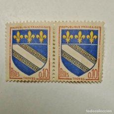 Sellos: FRANCIA. LOTE DE 2 SELLOS USADOS DE 0,10 FR, DE 1963. TROYES. ENVÍO GRATIS POR PEDIDOS DE 3€ O MÁS.. Lote 231024160