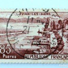 Sellos: SELLO POSTAL FRANCIA 1951, 85 F ,EVIAN-LES-BAINS, USADO. Lote 231245825