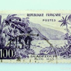Sellos: SELLO POSTAL FRANCIA 1959, 100 F ,GUADELOUPE, RIVIERE SENS, USADO. Lote 231249130