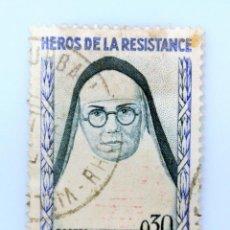 Sellos: SELLO POSTAL FRANCIA 1961, 100 F ,HEROES DE LA RESISTENCIA, MADRE ELIZABETH, USADO. Lote 231249900