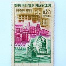 Sellos: SELLO POSTAL FRANCIA 1962, 0,95 F , DUNKERQUE, USADO. Lote 231251220