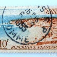 Sellos: SELLO POSTAL FRANCIA 1954,10 F ,EL NUEVO ROYAN, USADO. Lote 231429095