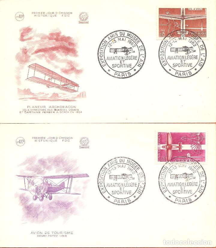 2 SOBRES SPD -FDC FRANCIA, CON MATASELLOS EXPOSICIÓN AMIGOS DEL MUSEO DEL AIRE-AVIACION , 1962 (Sellos - Extranjero - Europa - Francia)