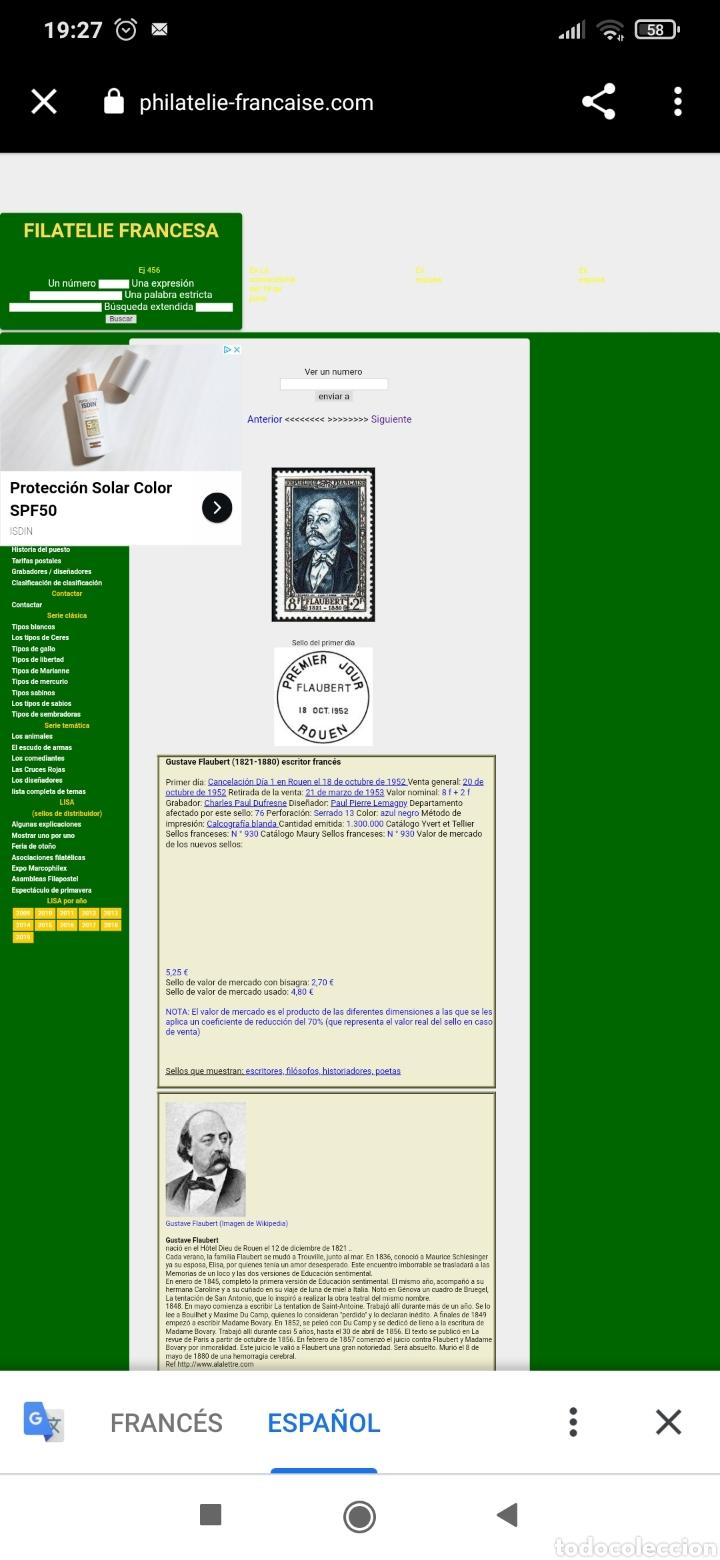 Sellos: Gustave Flaubert (1821-1880) escritor francés - Foto 2 - 260573790