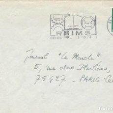 Sellos: 1973. FRANCIA/FRANCE. RODILLO/SLOGAN. REIMS. INDUSTRIA, UNIVERSIDAD, DEPORTES. SOBRE CIRCULADO.. Lote 263084215