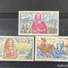 Sellos: FRANCIA, 1970. YVERT 1655/57. HISTORIA DE FRANCIA. SERIE COMPLETA. SIN DENTAR. NUEVO. SIN FIJASELLOS. Lote 267738539