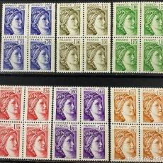 Sellos: FRANCIA, 1979. YVERT 2056/61. SABINE. SERIE COMPLETA. NUEVOS. SIN FIJASELLOS.BLOQUE DE 4. Lote 269033034