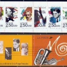 Selos: FRANCIA.1992. YT. 2747/2752. CARNET MÚSICOS CÉLEBRES.. Lote 278275423