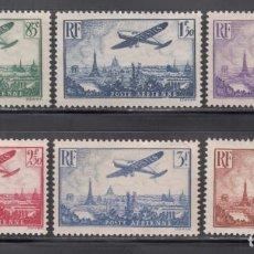 Sellos: FRANCIA. AÉREO, 1936 YVERT Nº 8 / 13 **/*, AVIÓN SOBREVOLANDO PARIS.. Lote 286143558
