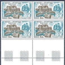 Sellos: FRANCIA 1976. YVERT 1913. MUSÉE DE L'ATLANTIQUE- PORT LOUIS (BLOQUE DE 4). MNH **. Lote 288443843