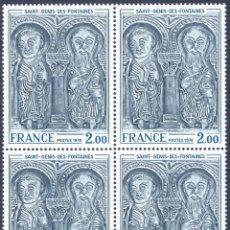 Sellos: FRANCIA 1976. YVERT 1867. LINTEAU DE L'EGLISE DE SAINT GENIS DES FONTAINES (BLOQUE DE 4). MNH **. Lote 288447648